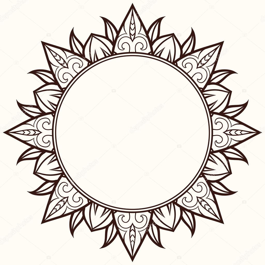 Vector frame in shape of a circle. Vintage round frame — Stock ...