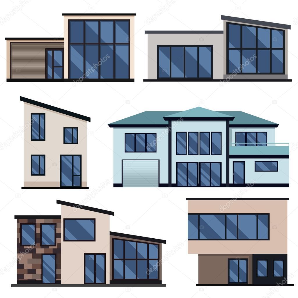 Conjunto De Casas Residenciales Modernas Ilustración Plana Vector
