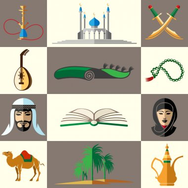 Arabic, middle east flat vector icons