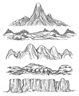 Hand drawn mountains and hills