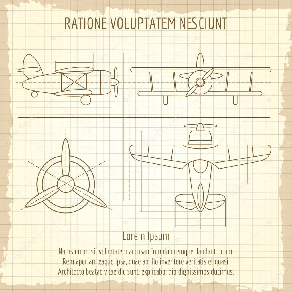 Flugzeug-retro-Zeichnung. Flugzeug Jahrgang Blaupause, Vektor Retro ...