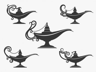 Aladdin lamp icon set