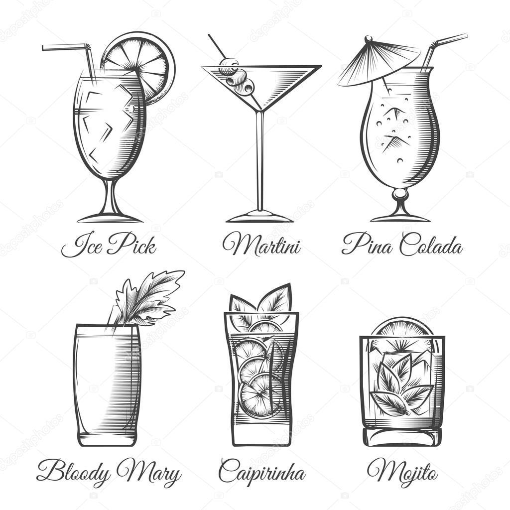 Vecteur de cocktails de gravure image vectorielle vectortatu 113371264 - Dessin cocktail ...