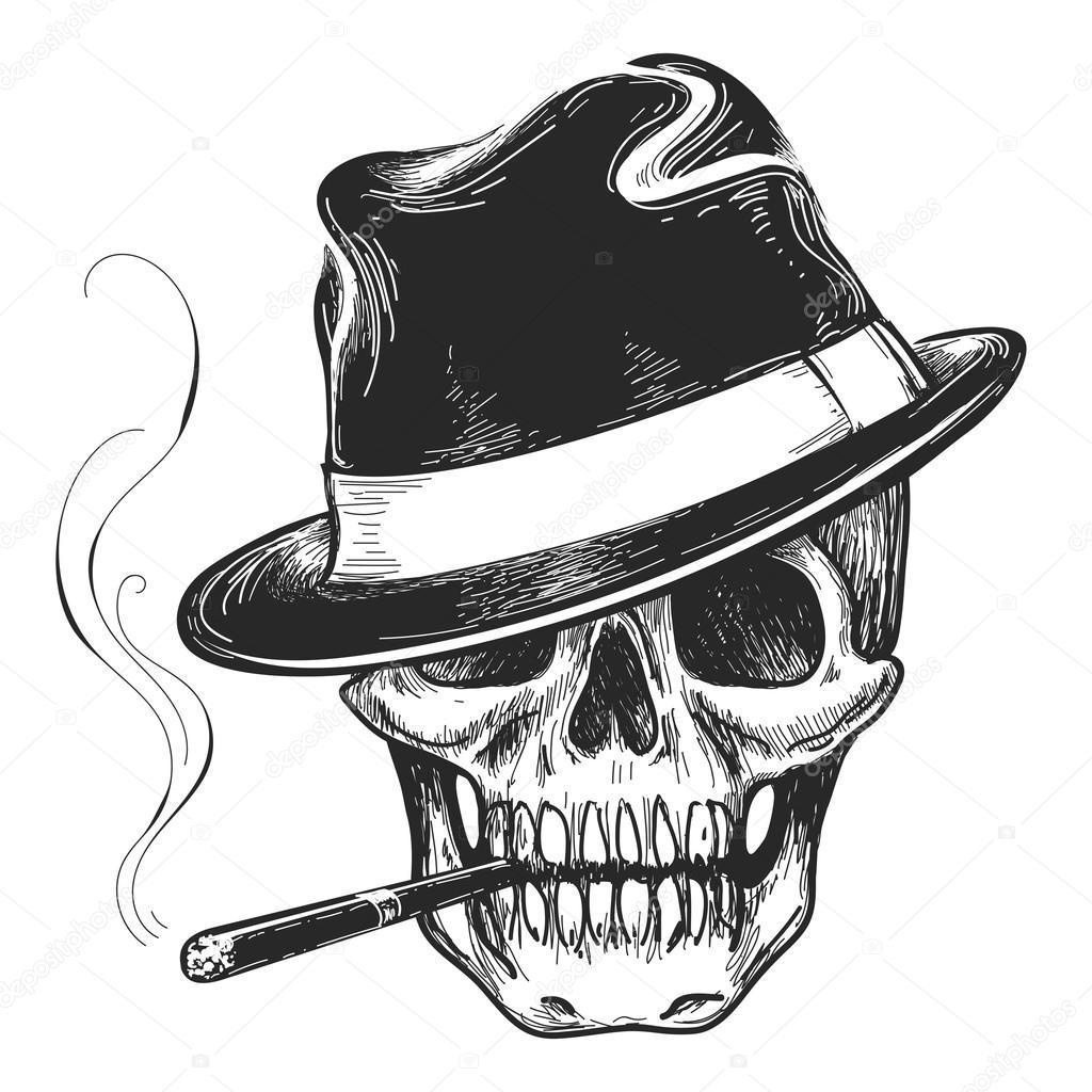 Tatuaggio teschio di gangster. Testa di morte con sigaro e cappello  illustrazione vettoriale — Vettoriali di ... 9067b0908c8d