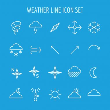 Blue and white weather line icon set vector clip art vector