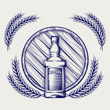Hand drawn sketch of whisky bottle barrel and wheat ball pen logo vector stock vector