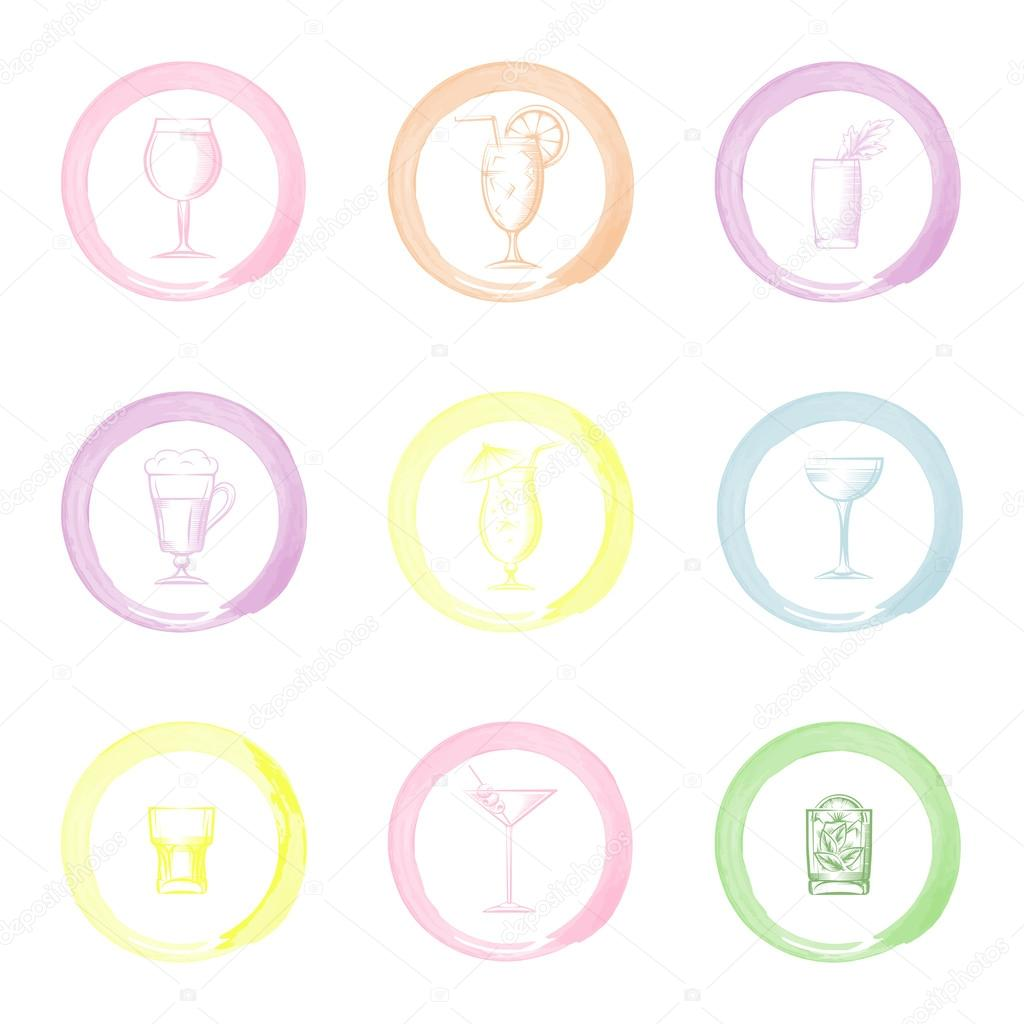 Hand drawn drinks icons