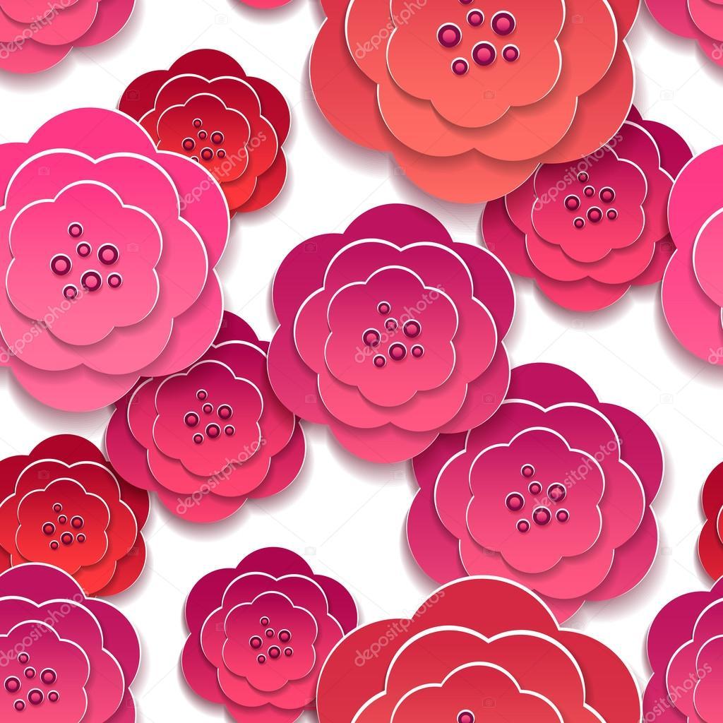 Fiori 3d Di Carta.Paper Rose Flowers 3d Pattern Stock Vector C Vectortatu 119940588