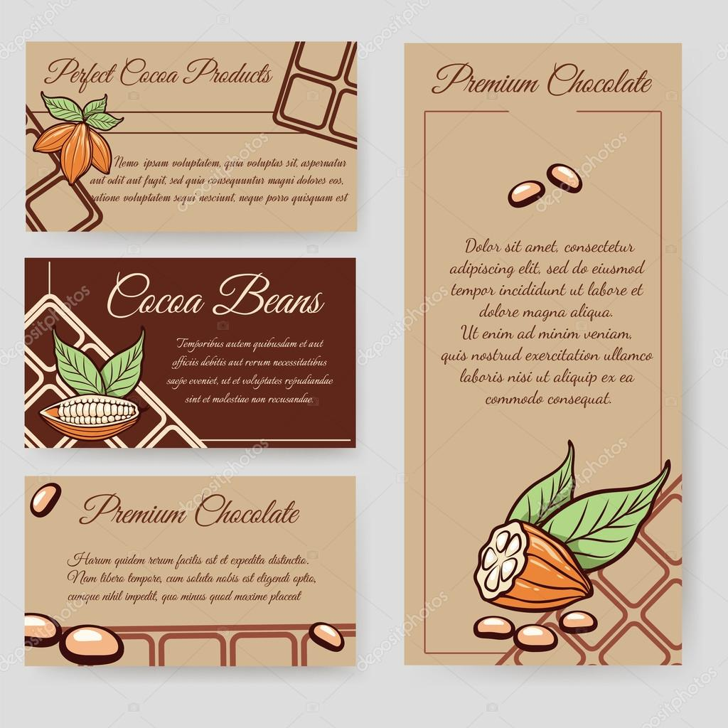 Cocoa beans and chocolate cards set