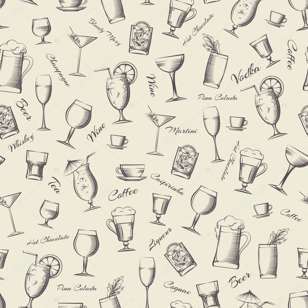 Vintage cocktails seamless pattern