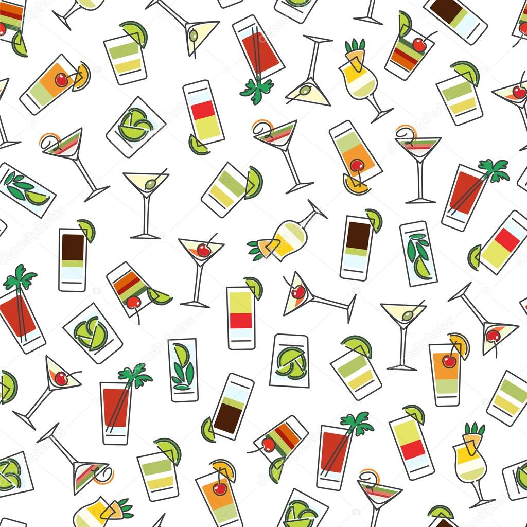 Seamless pattern with colorful drinks