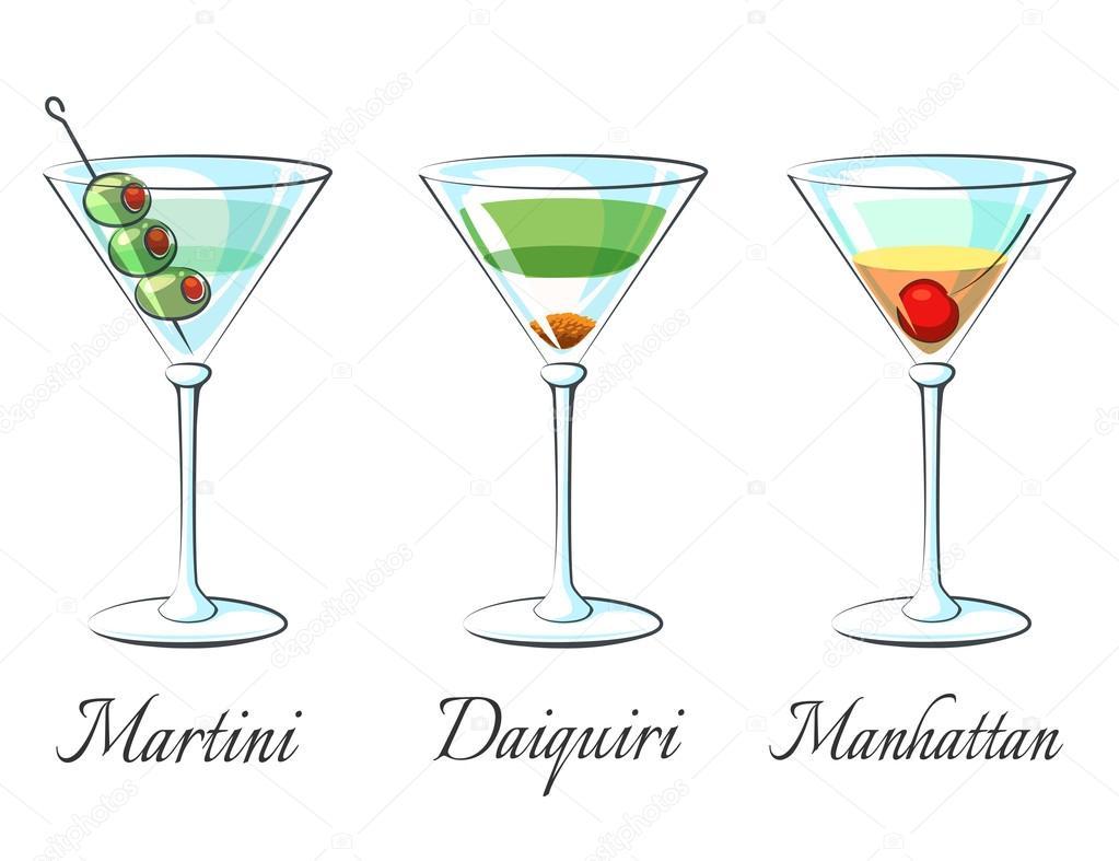Attractive Beliebte Cocktails Ideas Of Alkoholische Symbole Auf Weißem Hintergrund Mit Zeichen-vektor-tration