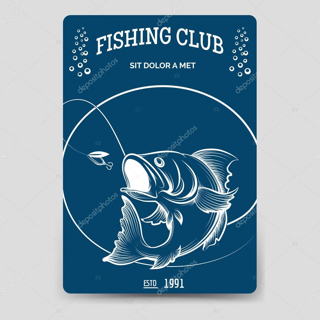 Fishing club brochure flyer template