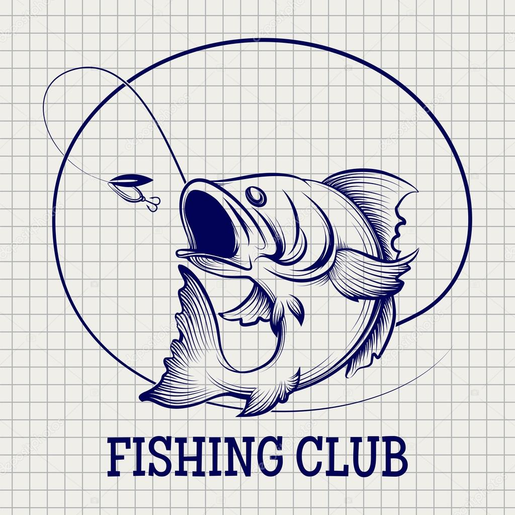 Hand drawn fishing club logo