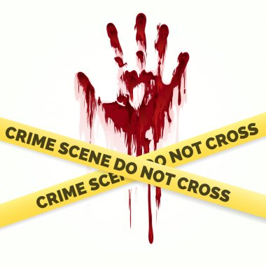 Bloody handprint and police crime scene
