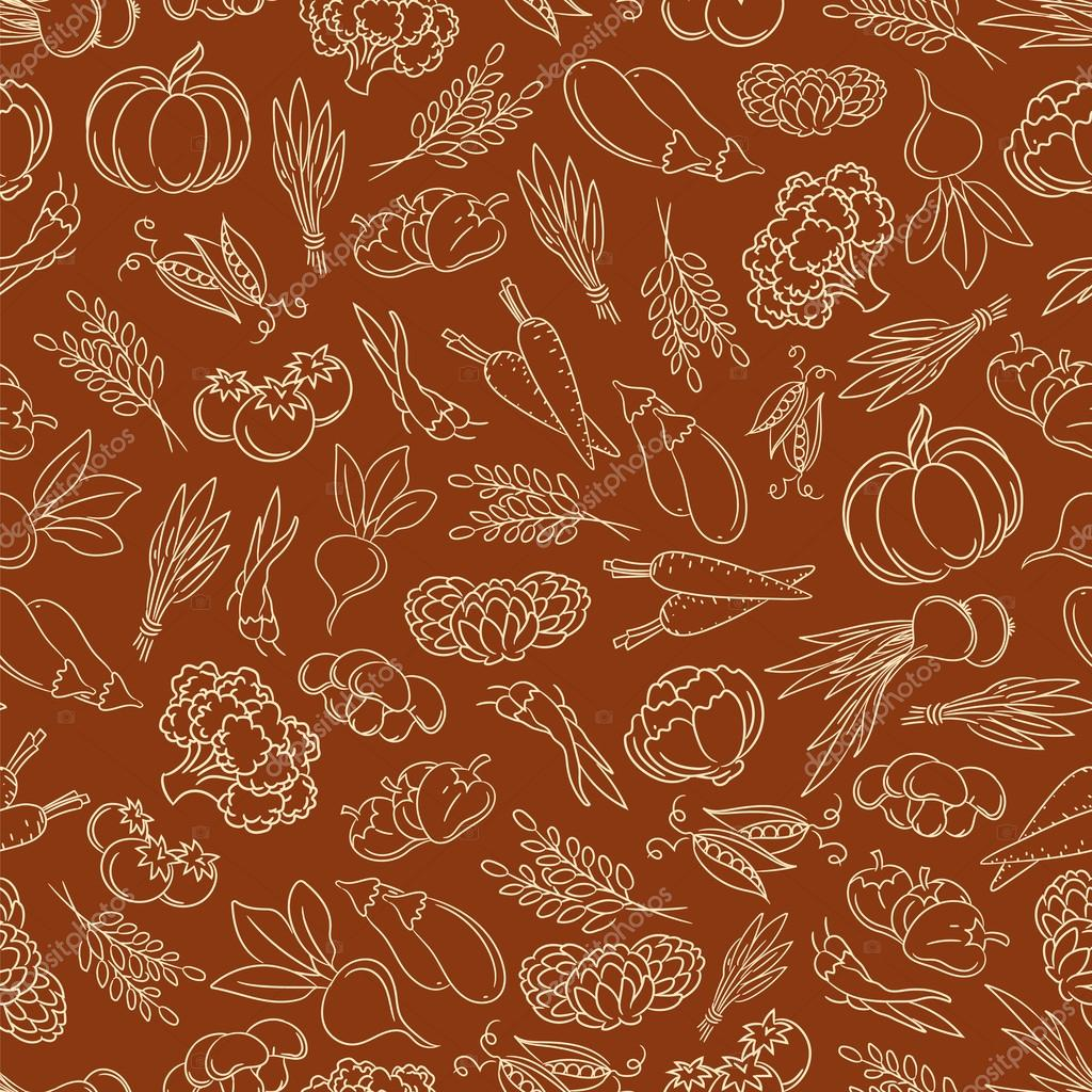 Harvest festival seamless pattern with vegetables