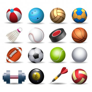 Sports equipment pack. Balling and baseball balls, badminton and golf inventory, rugby and darts isolated equipements, cartoon sport pack vector illustration icon
