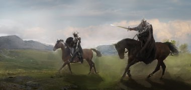 two horseman riders in field