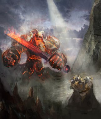 Ragnarok, the fire giant vs. heroes of Valhalla