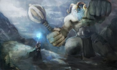 Thor fighting ice giant on edge of the world