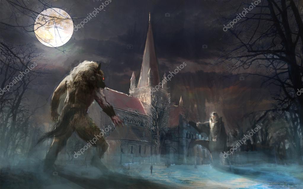 Battle of immortals werewolf vs vampire — Stock Photo