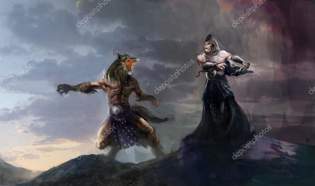 Battle of immortals werewolf vs vampire — Stock Photo