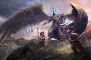 the king of good Ra fighting Greek demigods