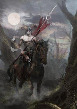 Norse hero riding a horse