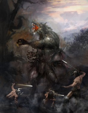 werewolf fighting tree brave heroes