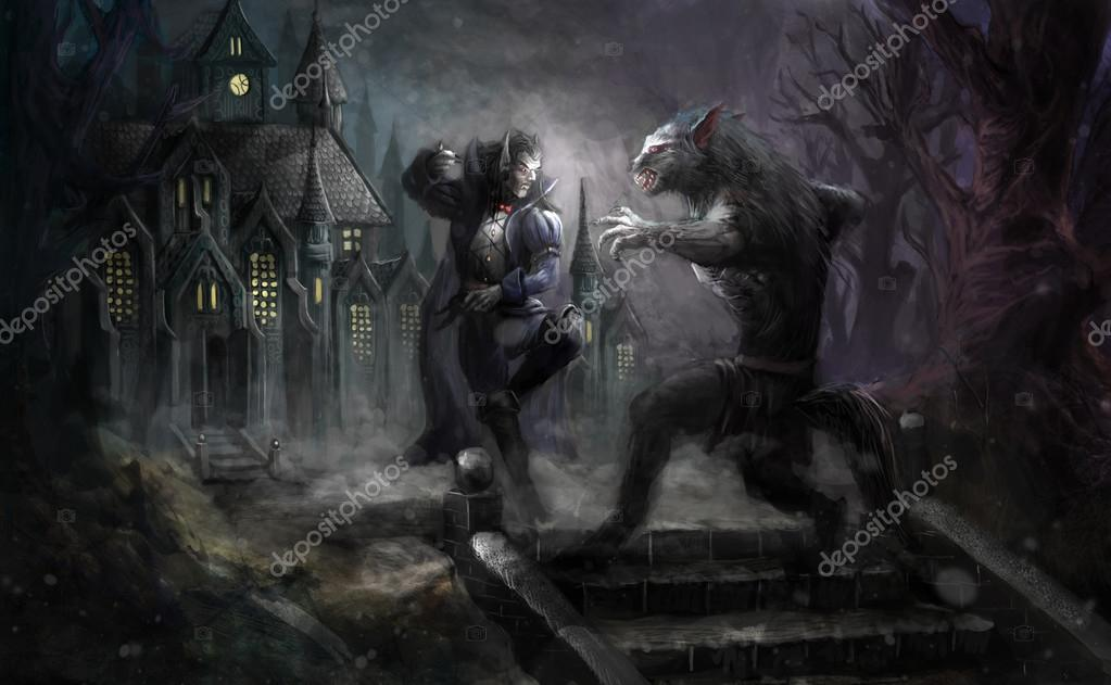 Werewolf fighting vampire in front of castle — Stock Photo