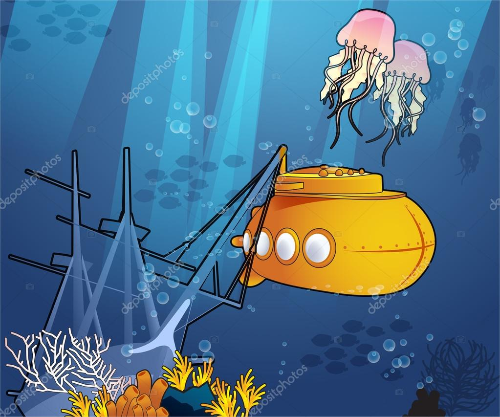 Submarine and jellyfish Under the Sea