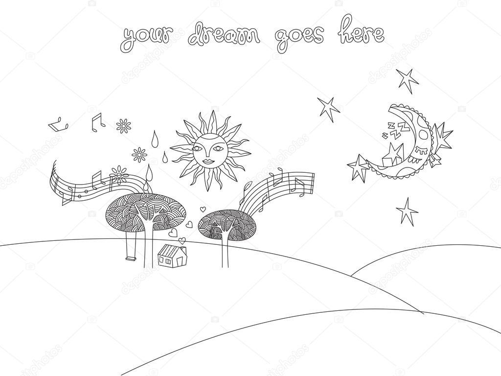Doodle landscape sketch