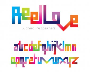 Reel Love Joining Font, vector illustration stock vector