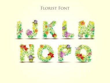 fresh grass alphabet with blooms