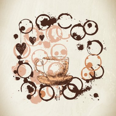 Coffee vector paint cup, splashes and harts