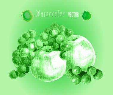 Ripe art  fruits  apples, grapes.