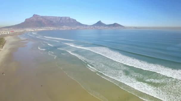 Cape Town 4K UHD aerial footage of Table Mountain, Lagoon beach in Tableview, Blouberg. Ocean beaches of South Africa. Part 1 of 4