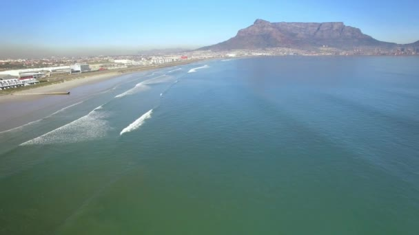 Cape Town 4K UHD aerial footage of Table Mountain, Lagoon beach in Tableview, Blouberg. Ocean beaches of South Africa. Part 2 of 6
