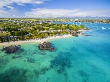 Mauritius beach aerial view of Merville Beach in Grand Baie, Pereybere North