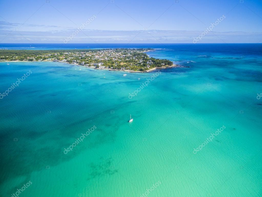 Mauritius beach aerial view of Merville Beach in Grand Baie, Pereybere North
