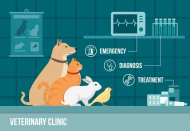 Veterinary clinic banner with animals