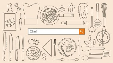 Chef and cooking banner