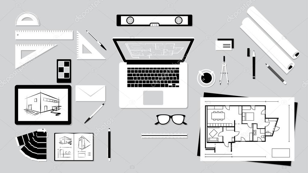 Architect And Designer Desk With Tools Tablet Computer Vector By Elenabs