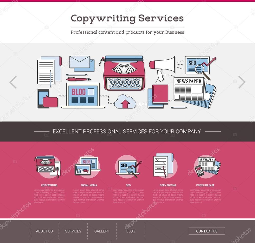 Copywriting und Bearbeitung Webvorlage — Stockvektor © elenabs ...