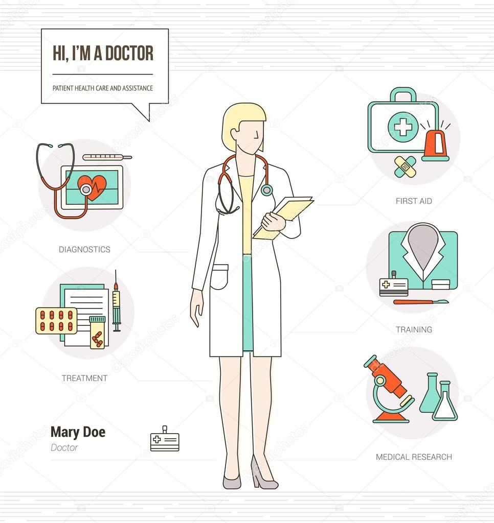 Infografía de doctora profesional — Vector de stock © elenabs #102249964