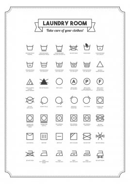 Laundry and washing clothes symbols