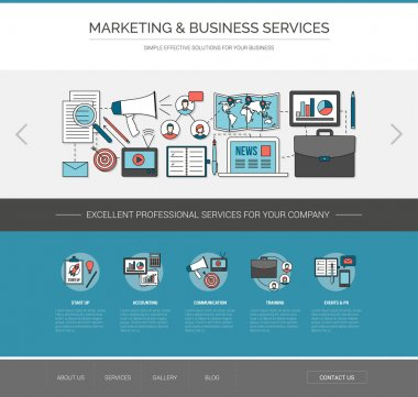 Marketing and communication web template, advertising and business improvement concept clip art vector