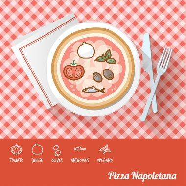 Pizza napoletana on a dish