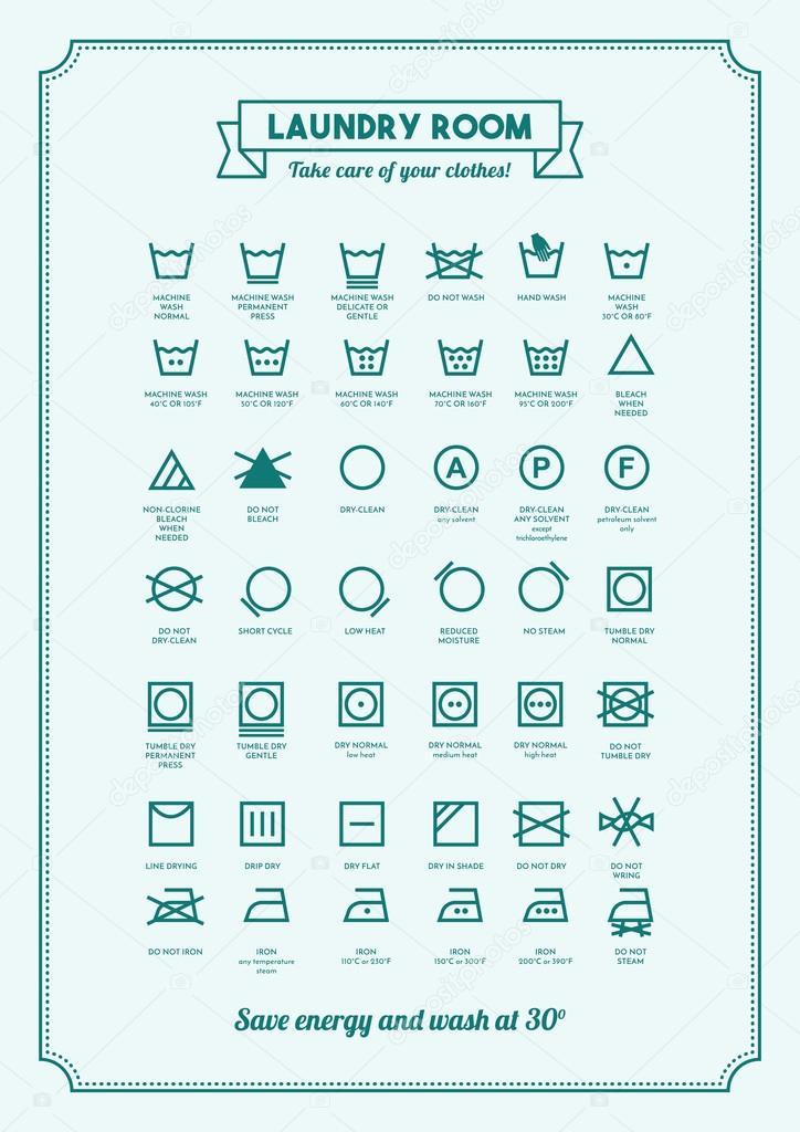 Laundry And Washing Clothes Symbols Stock Vector Elenabs 102251104