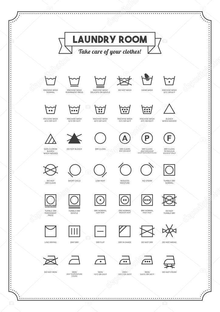Exceptionnel et lavage symboles de vêtements — Image vectorielle #102251206 TK39
